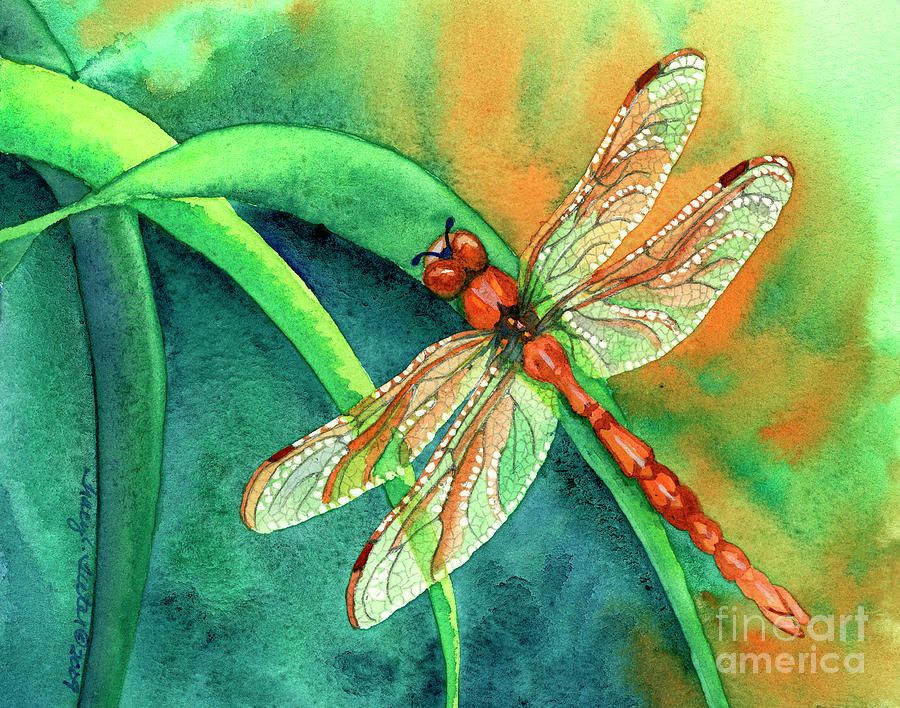 Dragonfly Painting - Lazy Days by Tracy L Teeter