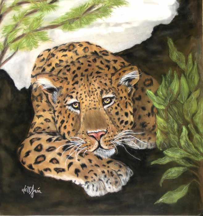 African Leopard Painting - Lazy Leopard Afternoon by Corinne Dell Aria