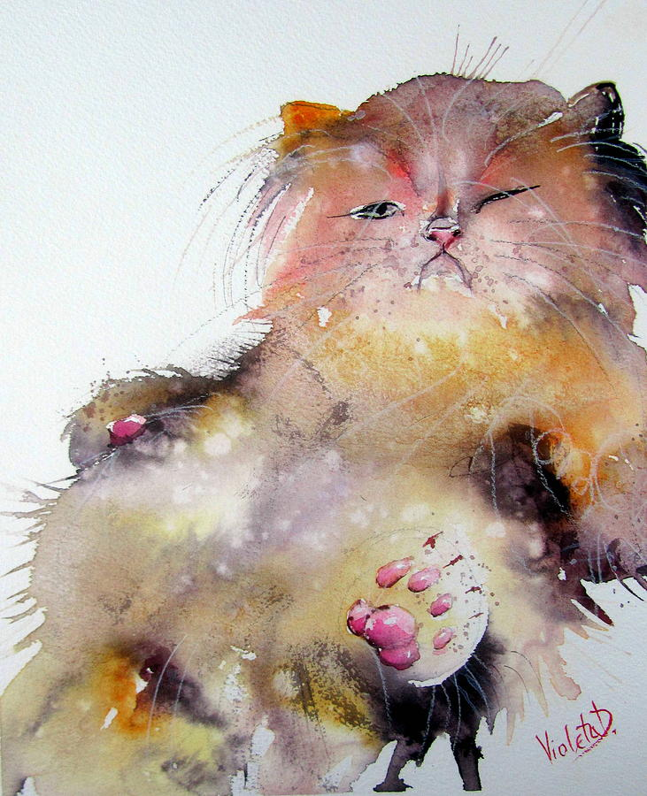 Lazy Sunday Painting - Lazy Sunday Meow by Violeta Damjanovic-Behrendt