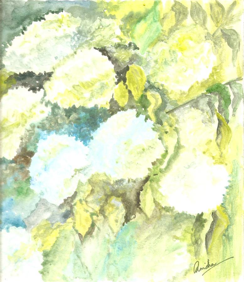 White Flowers Painting - Lazying In White by Anisha Bordoloi