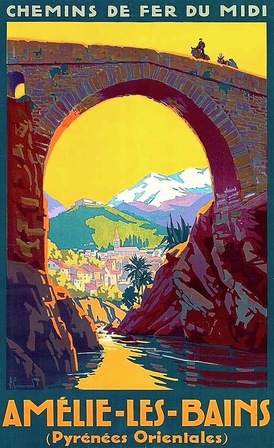 Pyrenees Painting - Le Ban, Pyrenees, France, Old Bridge by Long Shot