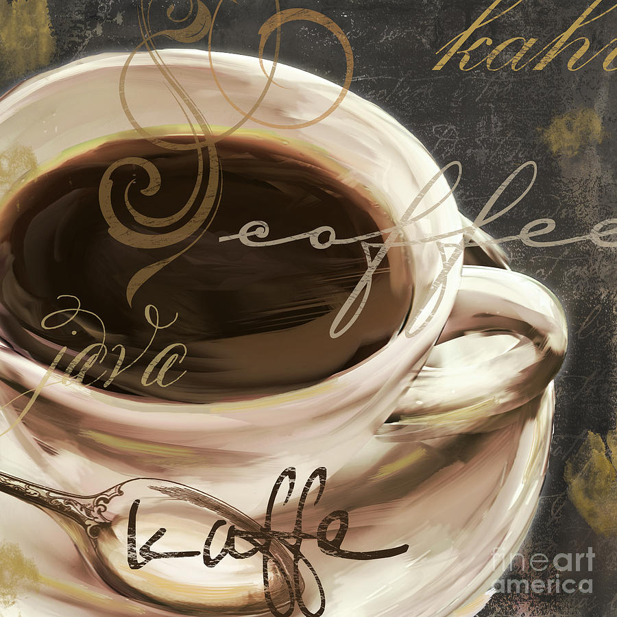 Coffee Painting - Le Cafe Dark by Mindy Sommers