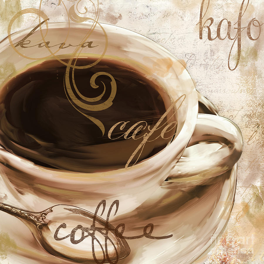 Coffee Painting - Le Cafe Light by Mindy Sommers