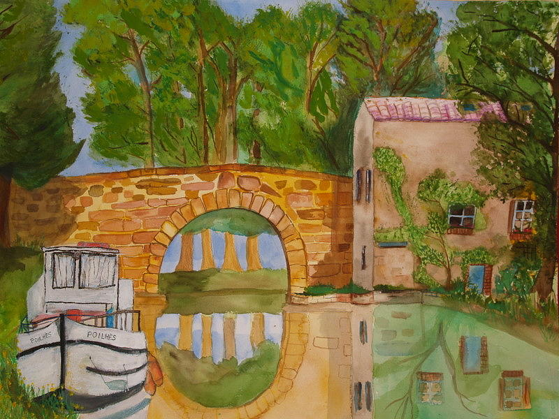 Boats Painting - Le Canal Du Midi by Aline Kala