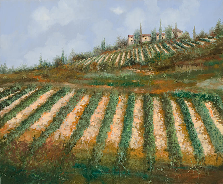 Vineyard Painting - Le Case Nella Vigna by Guido Borelli