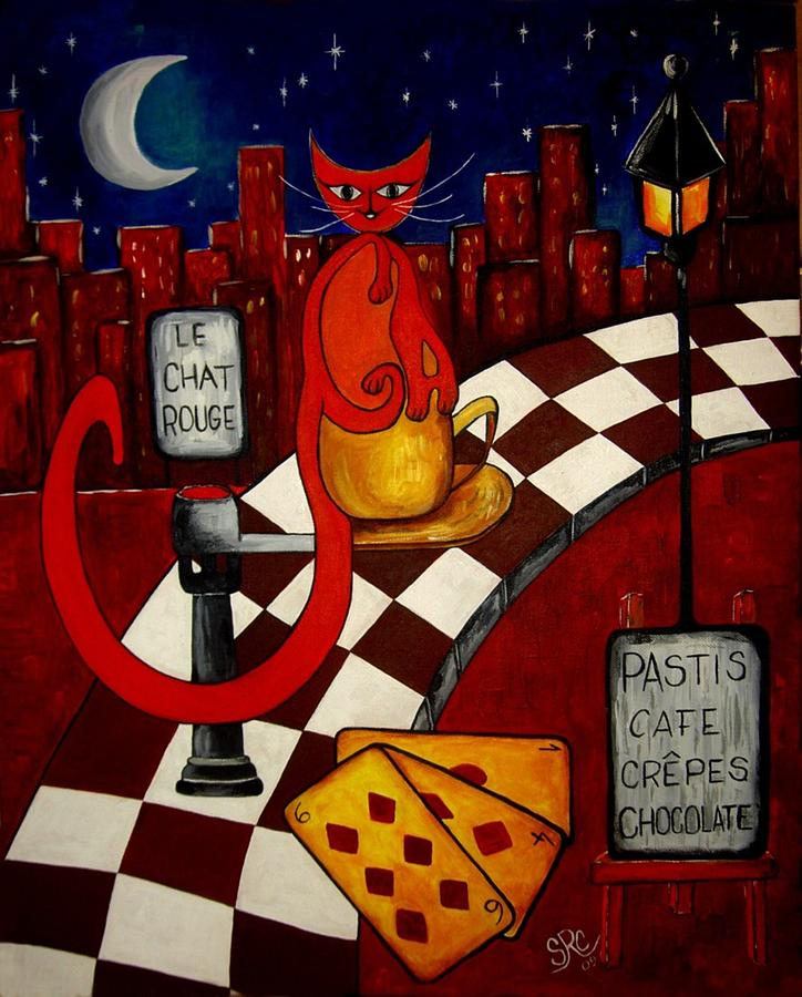 Cats Painting - Le Chat Rouge  by Silvia Regueira