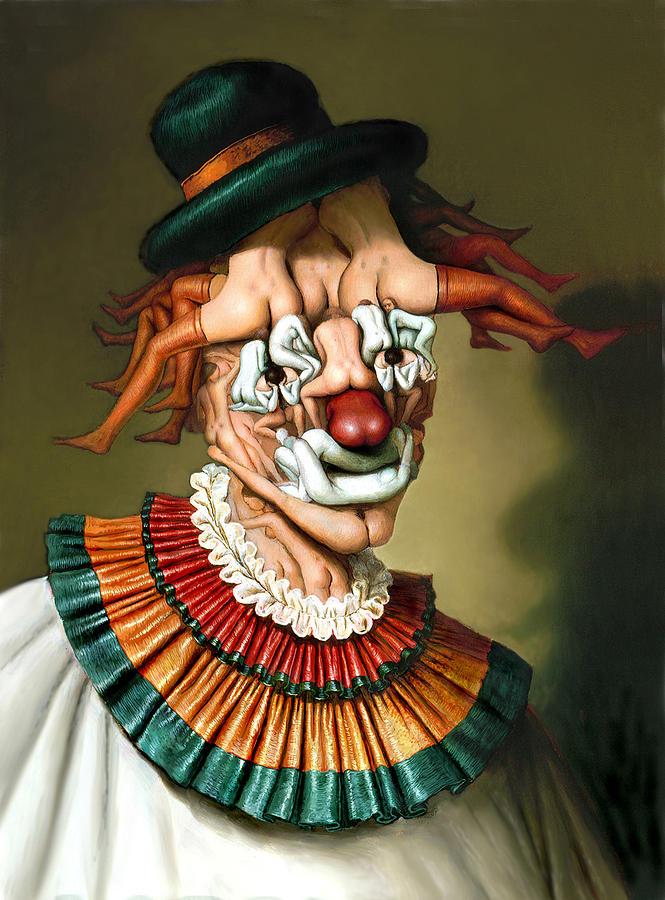 Fantastic Realism Painting - Le Clown Aux Nues by Andre Martins de Barros