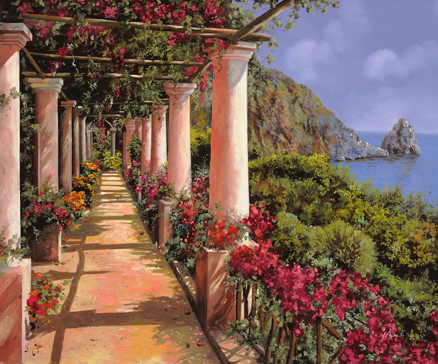 Bougainvillea Painting - Le Colonne E La Buganville by Guido Borelli