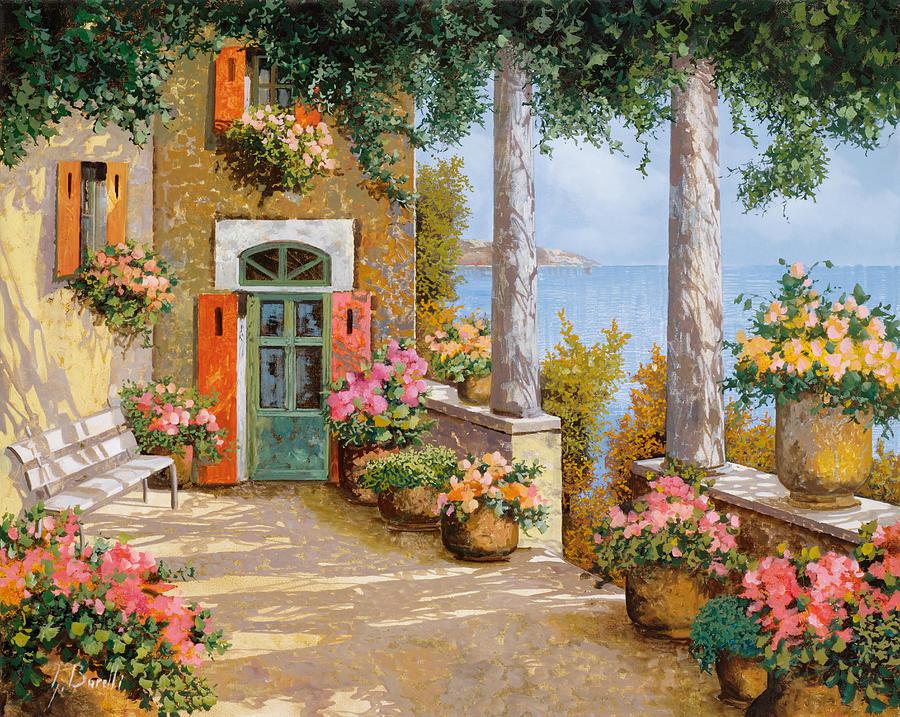 Terrace Painting - Le Colonne Sulla Terrazza by Guido Borelli