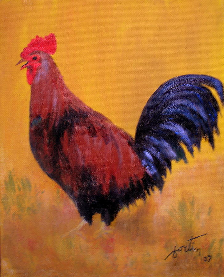 Rooster Painting - Le Coq         The Rooster by Lise-marielle Fortin