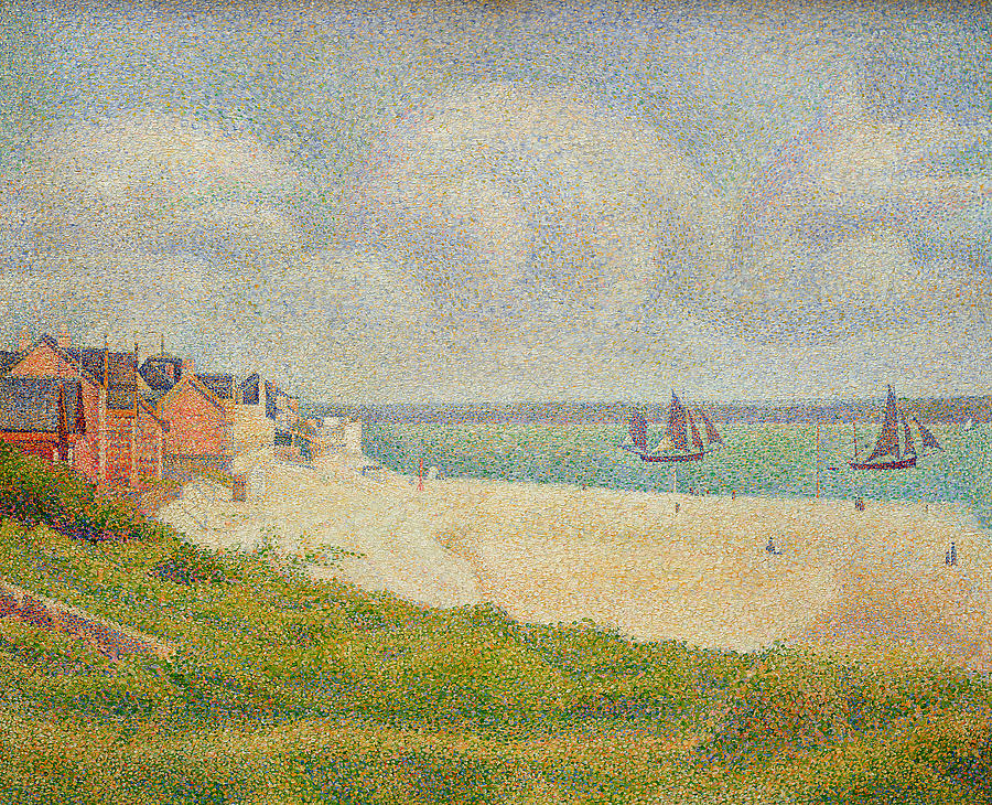 Looking Painting - Le Crotoy Looking Upstream by Georges Pierre Seurat