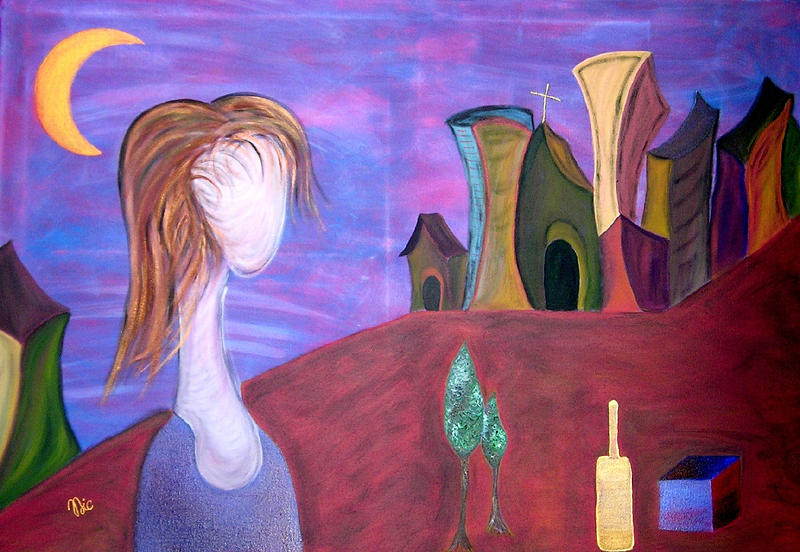 Dreamy Painting - Le Fille D-or by Nic N