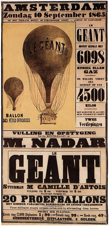 Le Geant - Air Balloon - Amsterdam - Vintage Advertising Poster Mixed Media