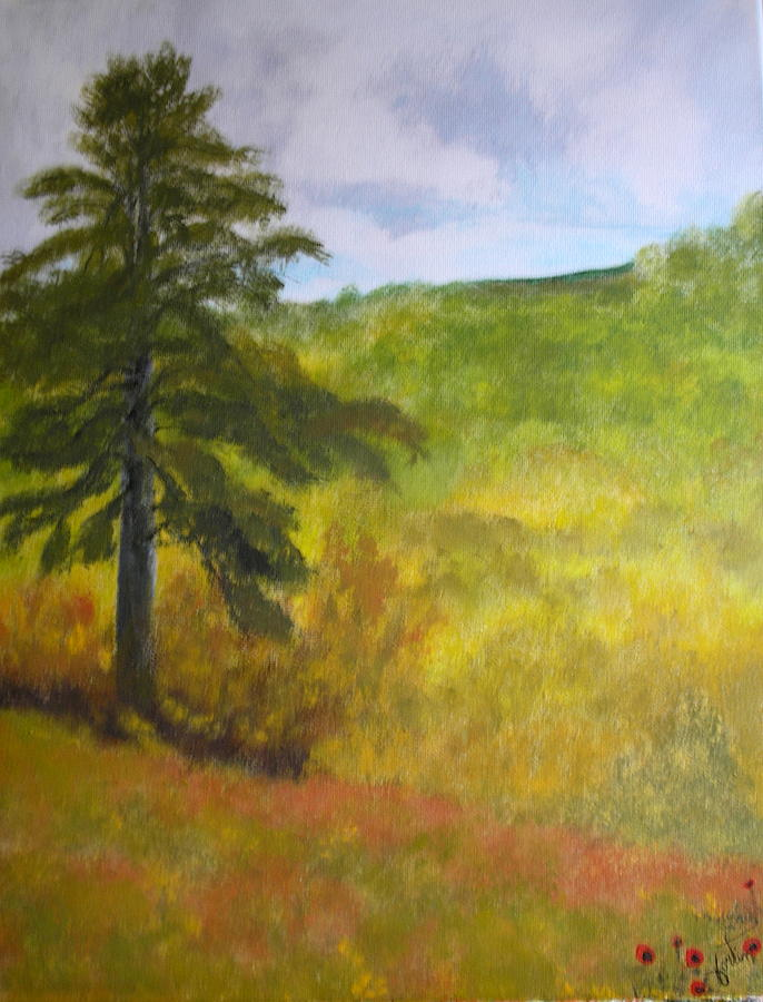 Pine Tree Painting - Le Grand Pin Dan Sma Cour by Lise-marielle Fortin