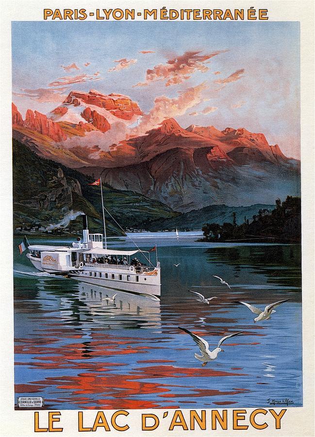 Le Lac Dannecy - Paris, Lyon, Mediterranee - Retro Travel Poster - Vintage Poster Mixed Media
