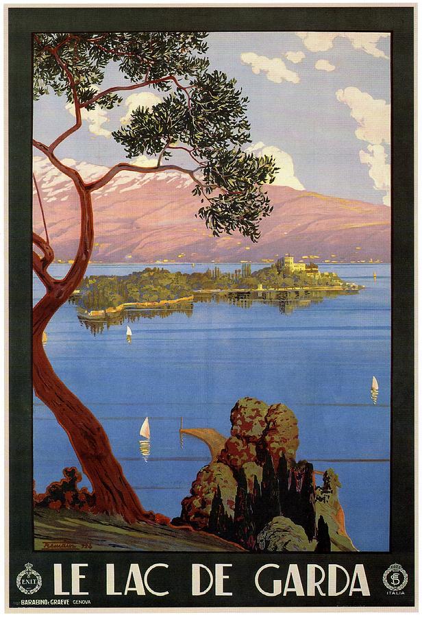 Le Lac De Garda - Lake Garda - Italy - Retro Travel Poster - Vintage Poster Mixed Media