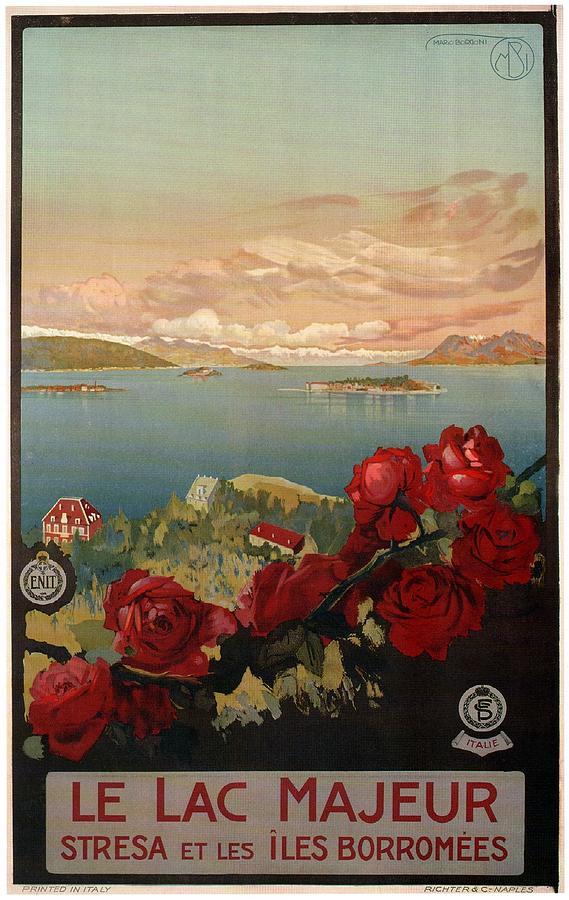 Le Lac Majeur - Stresa Et Les Iles Borromees - Retro Travel Poster - Vintage Poster Mixed Media
