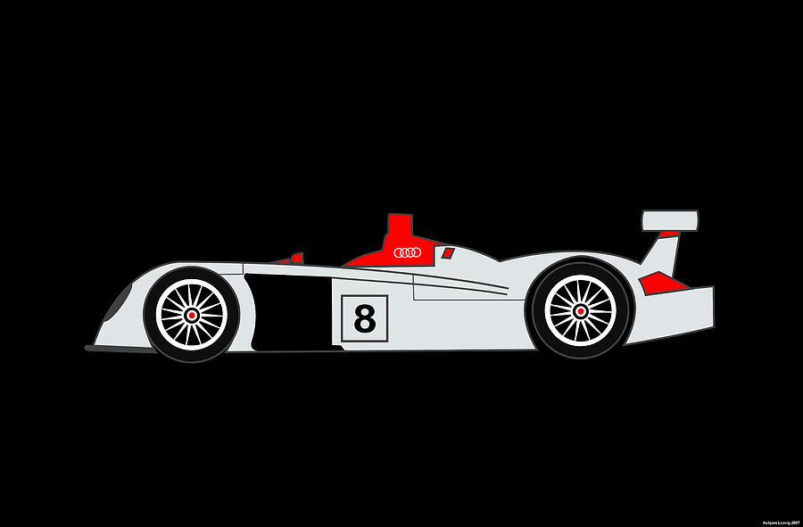 Audi Digital Art - Le Mans Audi R8 by Asbjorn Lonvig
