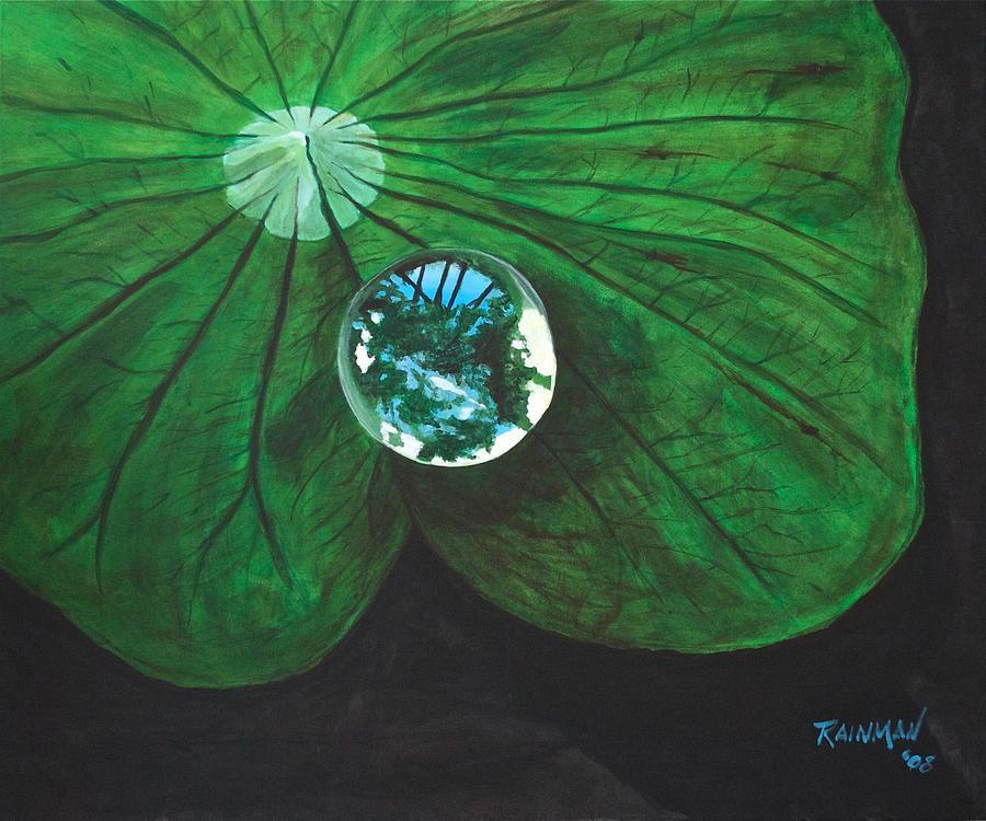 Water Drop Painting - Le Monde Dans Une Goutte D by Stephane Trahan