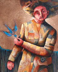 Figurative Mixed Media - Le Oiseau Blue by Antonio Nunez