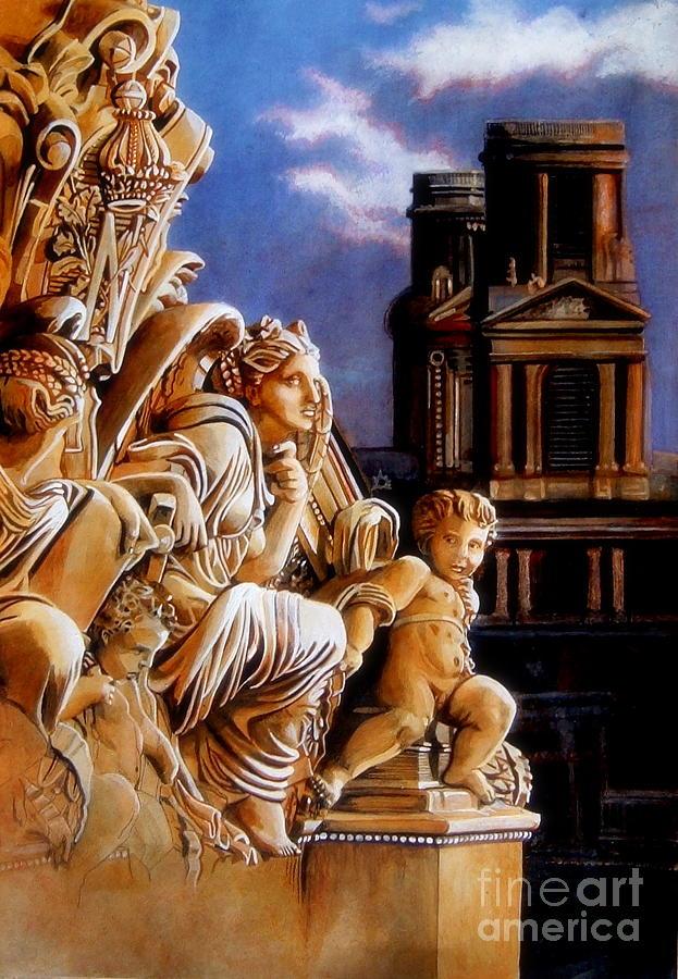 Statue Painting - Le Paradis Est Rempli by Pamela Roehm