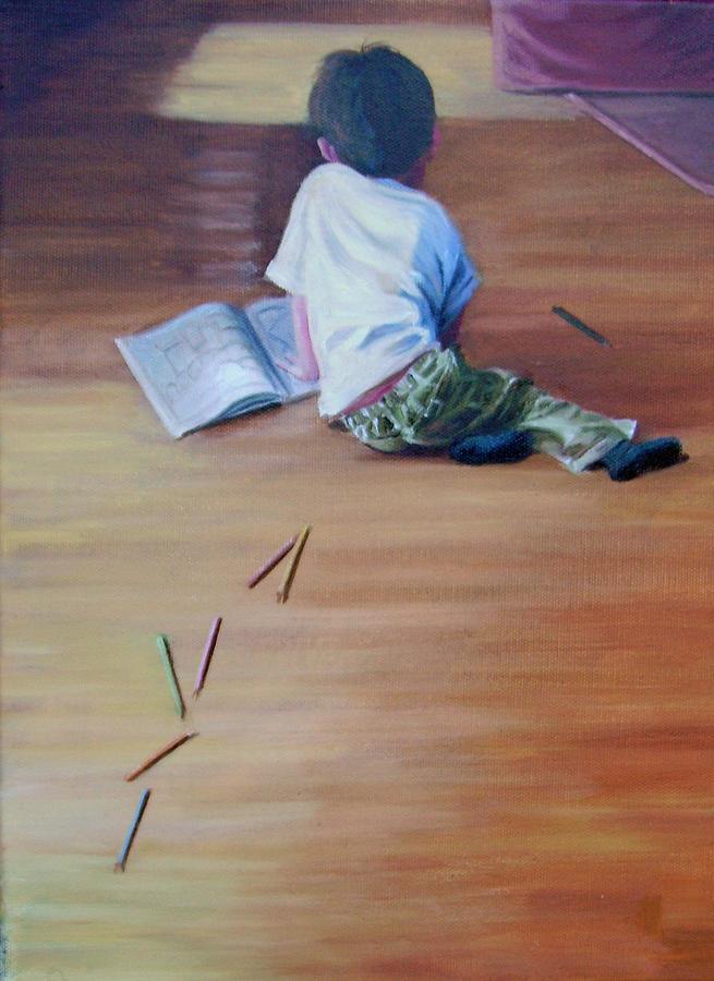 Boy Painting - Le Petit Artiste by Tahirih Goffic