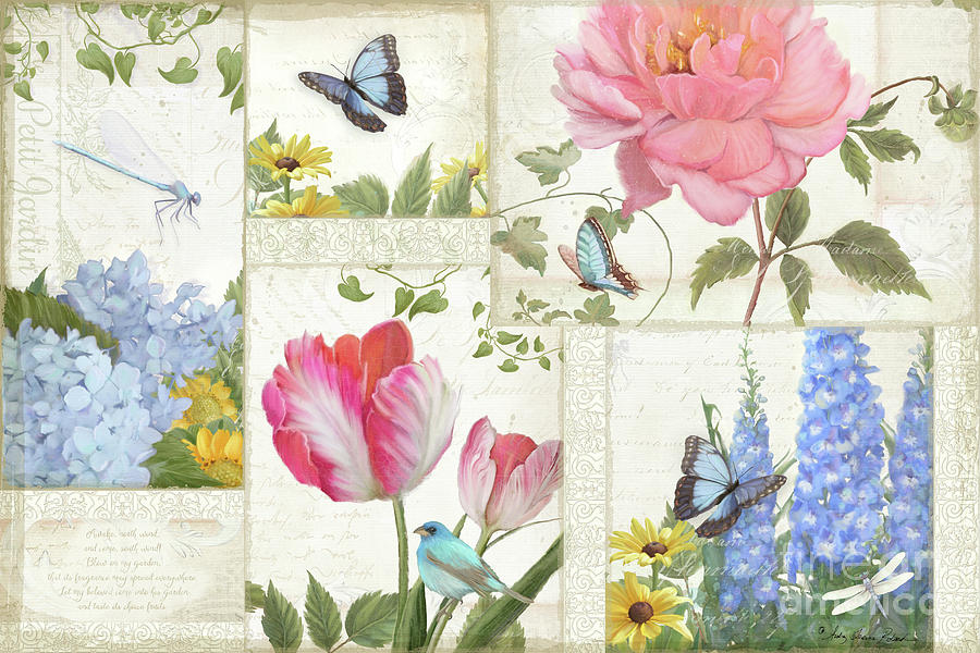 Collage Painting - Le Petit Jardin - Collage Garden Floral W Butterflies, Dragonflies And Birds by Audrey Jeanne Roberts
