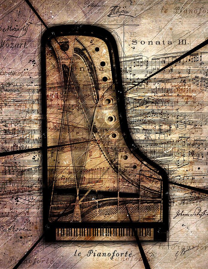 Piano Digital Art - Le Pianoforte Variation II by Gary Bodnar