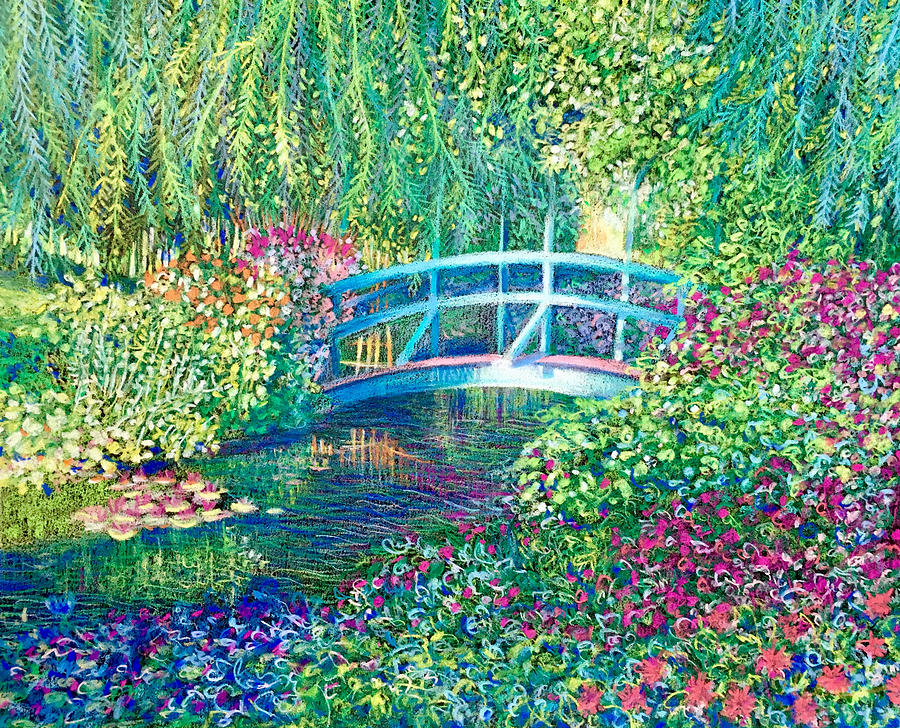 le pont japonaise a giverny dans le jardin de claude monet drawing by dulcie dee. Black Bedroom Furniture Sets. Home Design Ideas