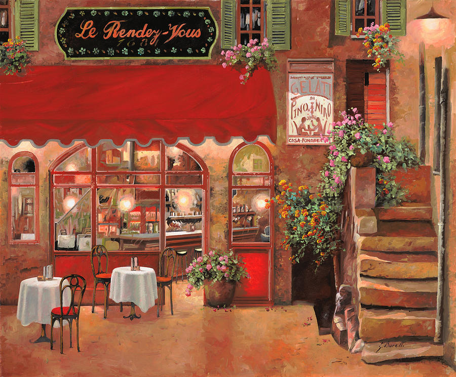 Caffe Painting - Le Rendez Vous by Guido Borelli