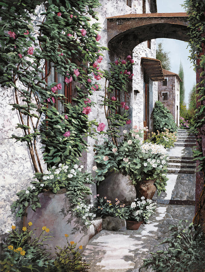 Arch Painting - Le Rose Rampicanti by Guido Borelli