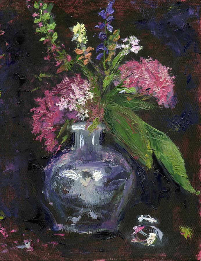 Palette Knife Painting - Le Vase De Fleurs by Diane Martens