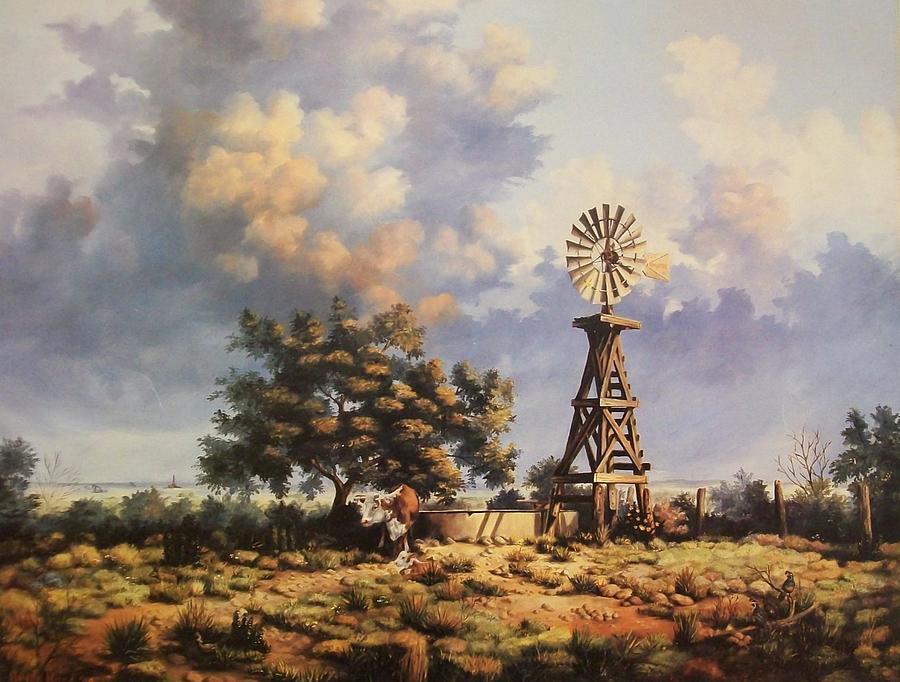 Windmill Painting - Lea County Memories by Wanda Dansereau
