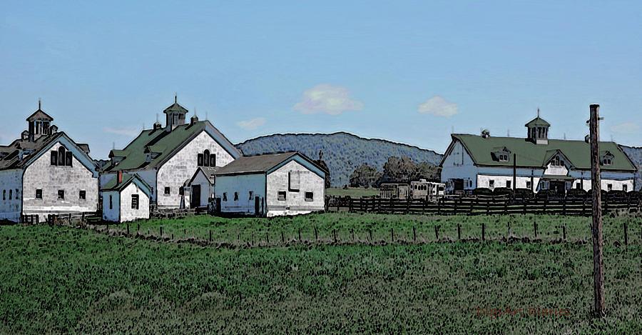 Barns Digital Art - Lea Homestead by DigiArt Diaries by Vicky B Fuller