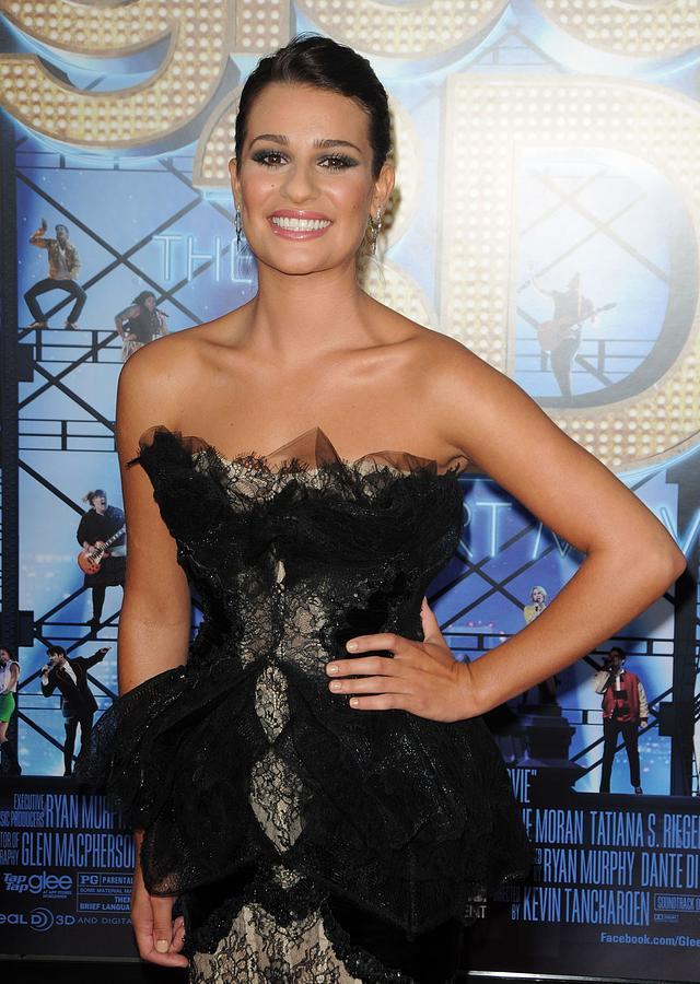 Lea Michelle Photograph - Lea Michele Wearing A Marchesa Dress by Everett