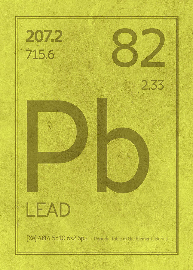Lead Pb Element Symbol Periodic Table Series 082 Mixed Media By
