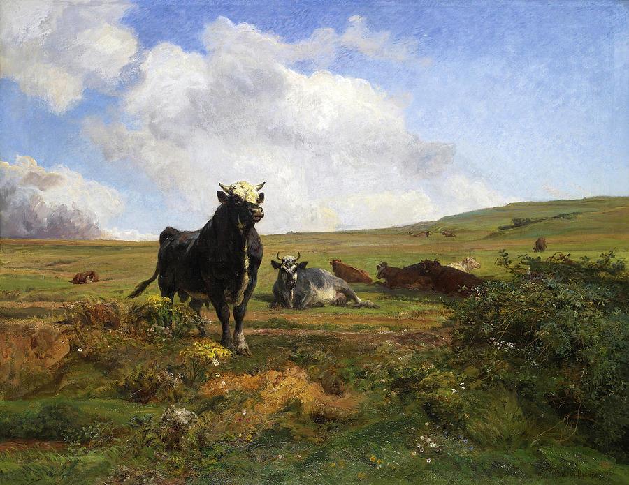 Famous Paintings Painting - Leader Of The Herd by Auguste Bonheur