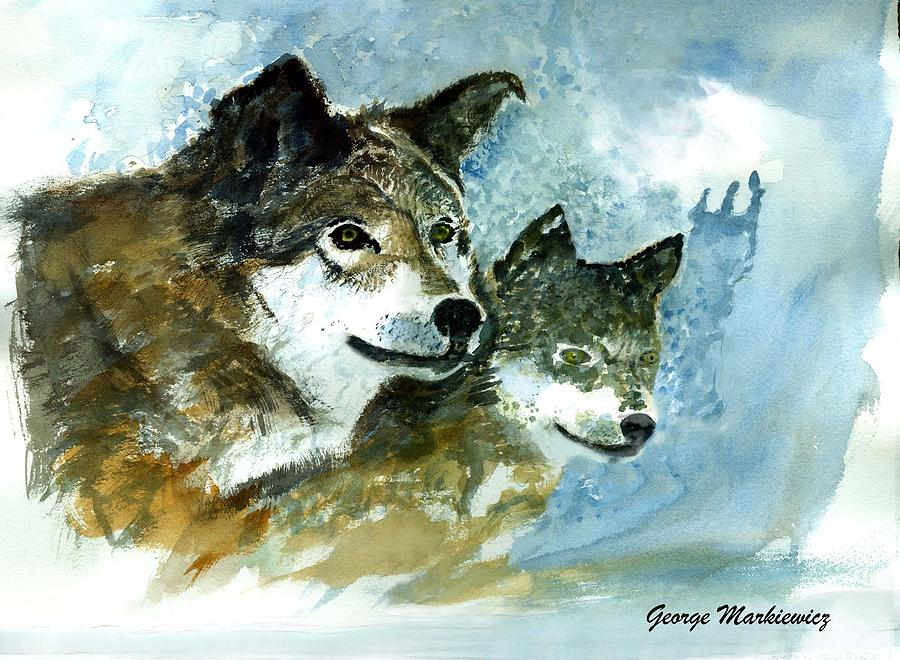 Wolves Print - Leader Of The Pack by George Markiewicz