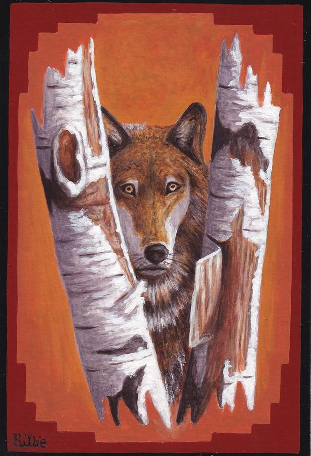 Leader Wolf.birch Trees Painting - Leader Wolf by Billie Bowles