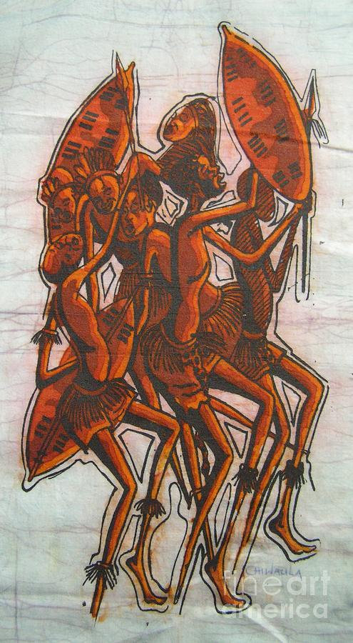 African Painting - Leading The Tribe by Mussa Chiwaula