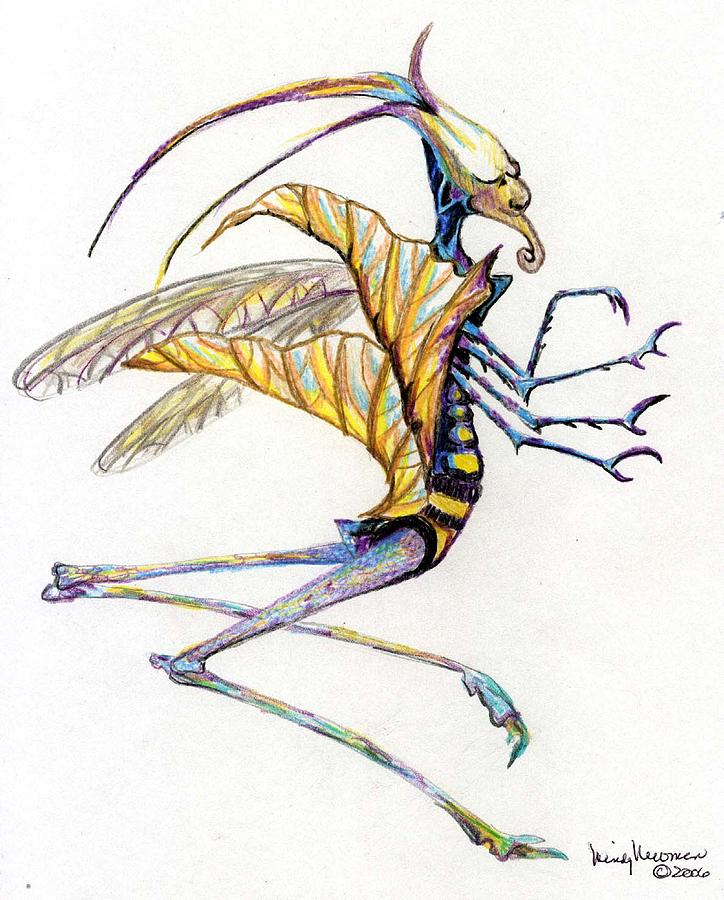 Insect Drawing - Leaf Hopper by Mindy Newman