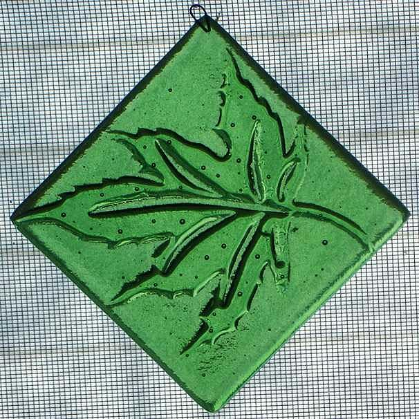 Taupe Glass Art - Leaf Ornament by Kristy Sly
