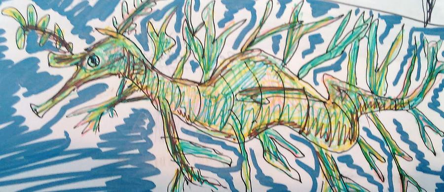 Leafy Drawing - Leafy Sea Dragon by Andrew Blitman