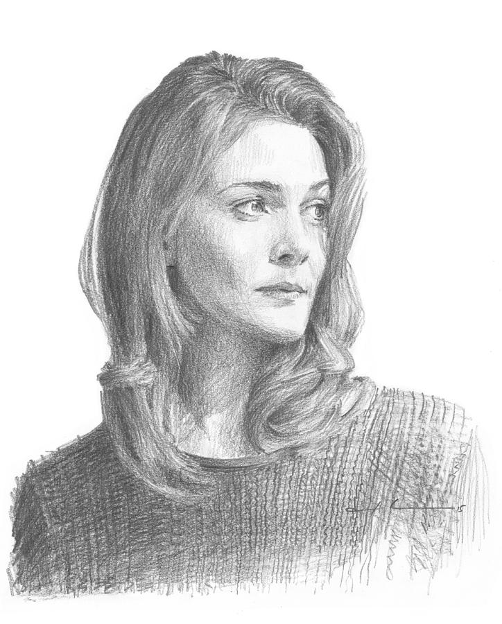 Leah Hager Cohen Pencil Portrait Painting by Mike Theuer