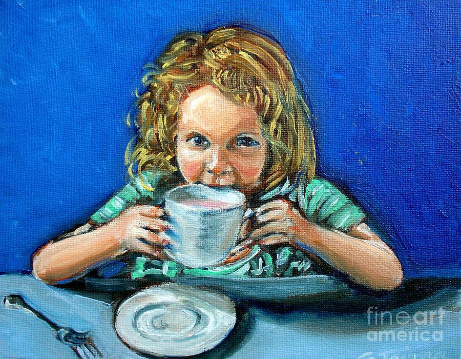 Tea Party Painting - Leah by Sheila Tajima