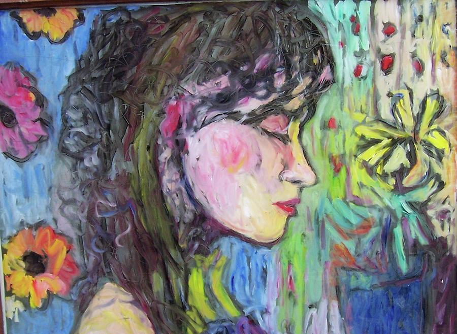 Female Painting - Leahannah Up Close by Mykul Anjelo