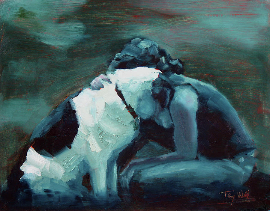 Dog Painting - Lean On Me 4 by Tracy Wall