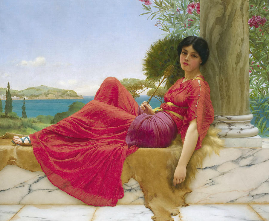 English Painters Painting - Leaning Against A Column by John William Godward