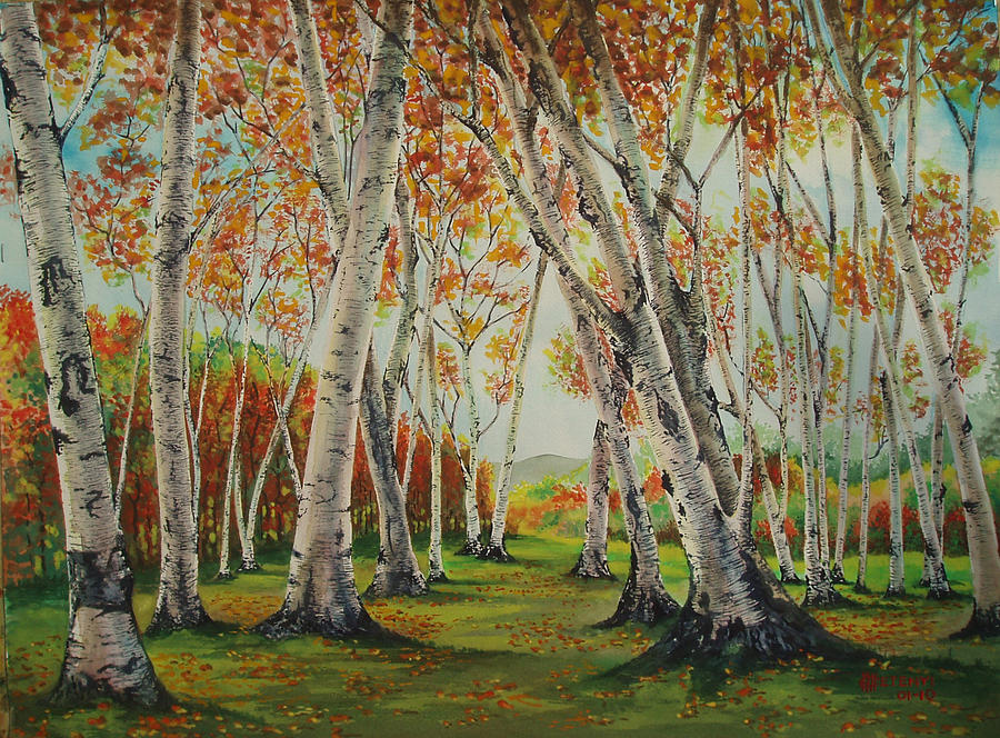 Woods Painting - Leaning Birches by Charles Hetenyi