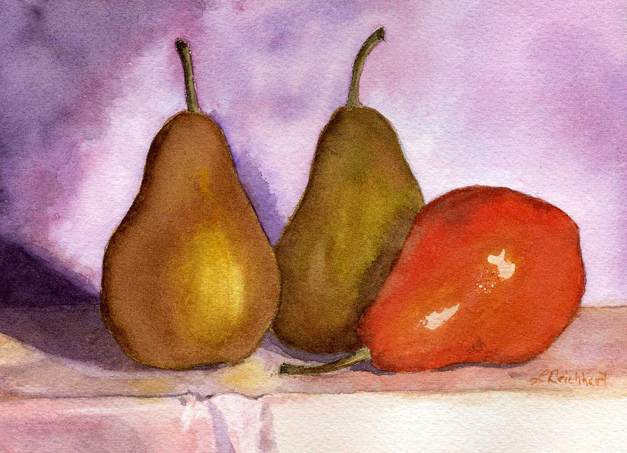 Watercolor Painting - Leaning Pear by Lynne Reichhart
